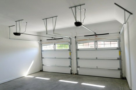 empty garage with new garage door
